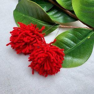 • Cherry Red Pom Pom Earrings •